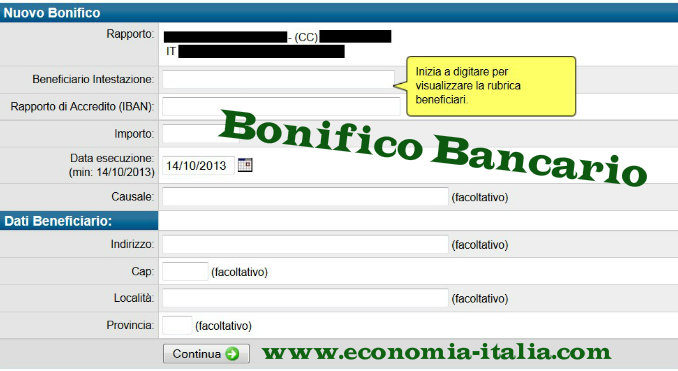 "Bonifico ""acconto"""